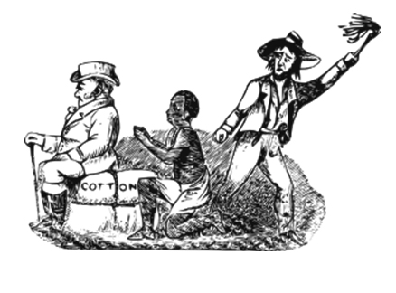 Illustration of a slave working under the gaze of two slave masters, one whipping him.