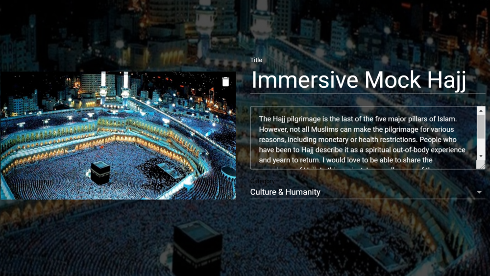 Link to VR Tour of Hajj on Google Poly