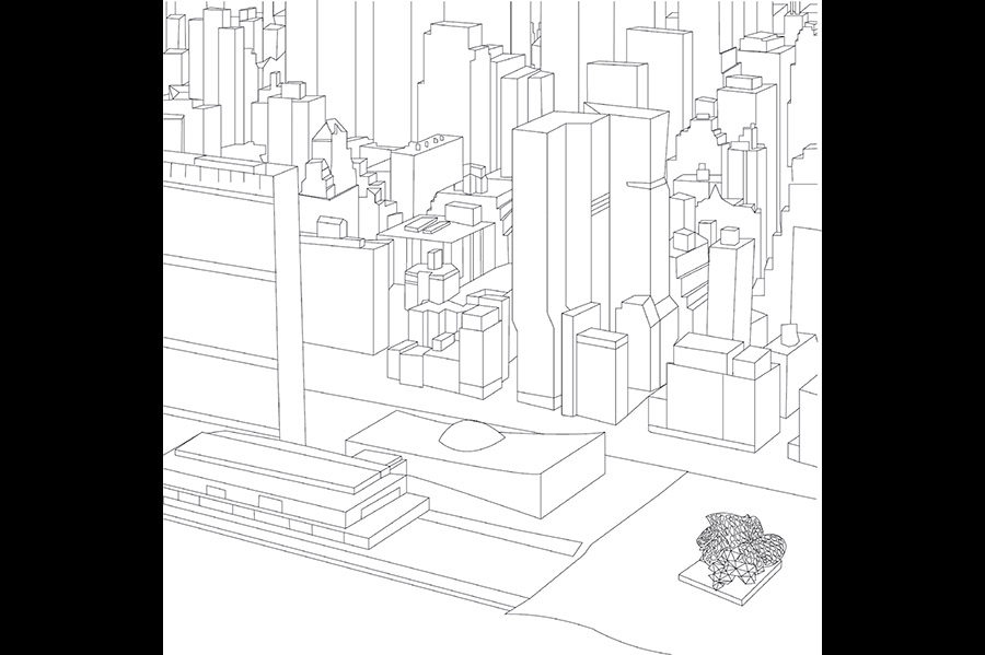 A line drawing of a city block with windowless buildings, with the UNNLEASHE structure in the lower right hand corner.