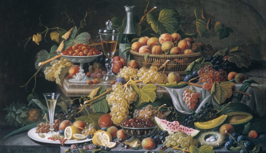Still life of various bowls, overflowing with fruit