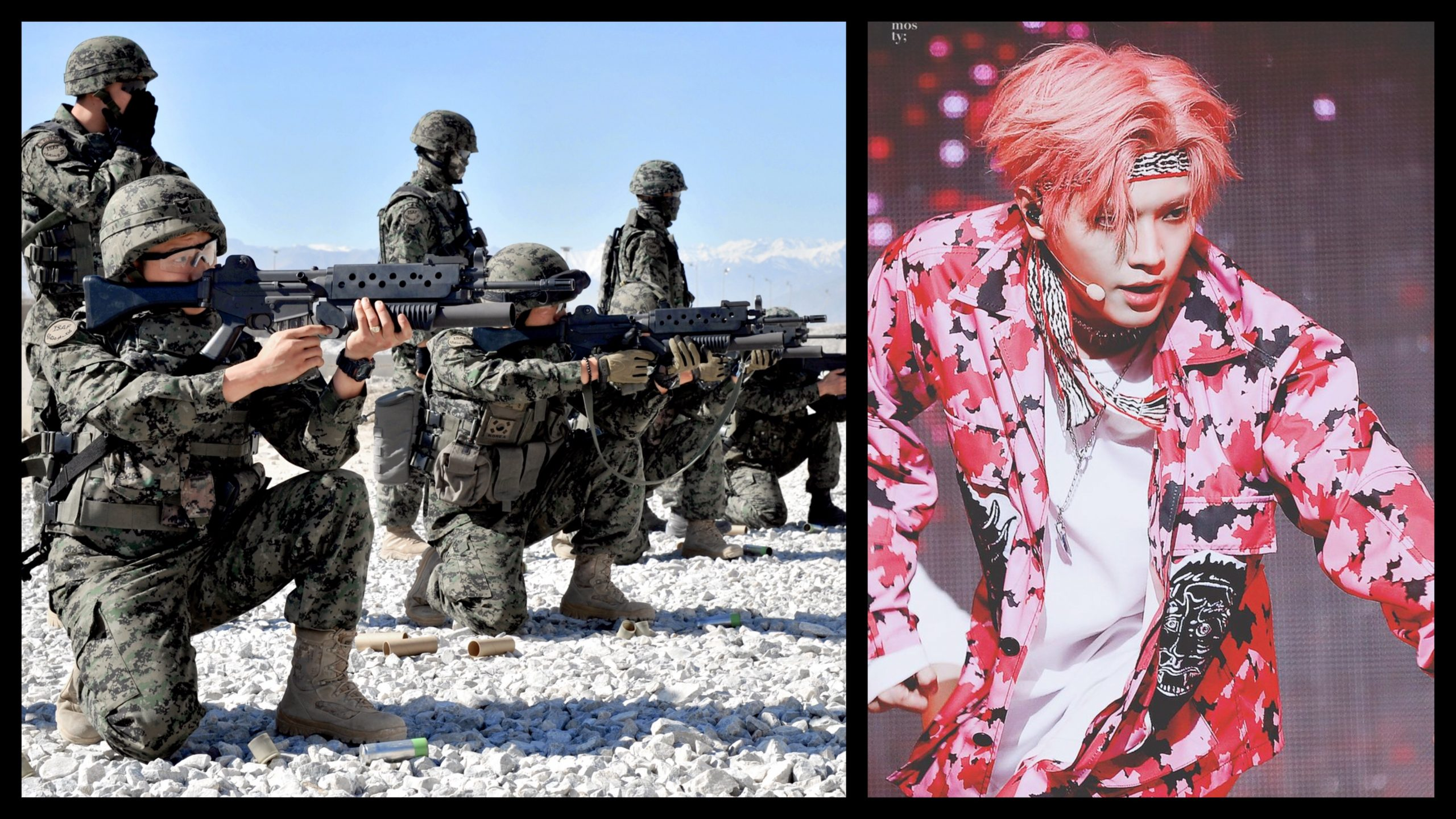 Photograph of Republic of Korea soldiers wearing camoflauge fatigues and pointing machine guns juxtaposed with a photograph of Taeyong NCT performing in a pink camoflauge shirt