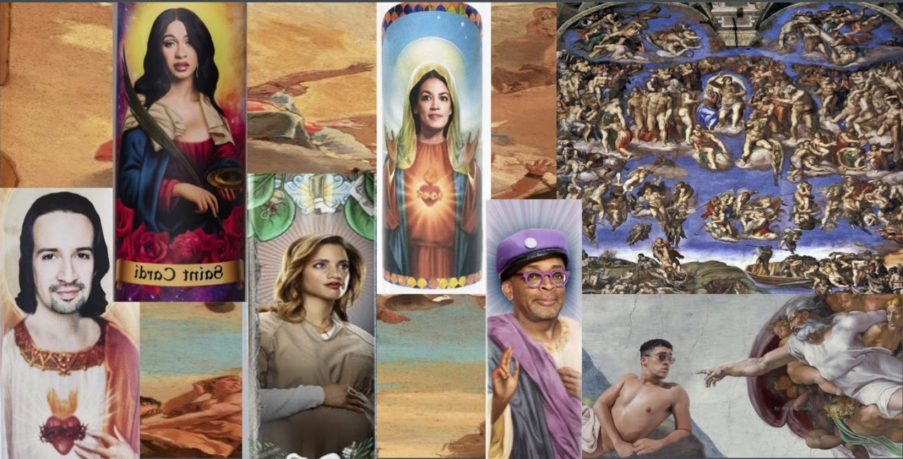 Collage showing images of Lin Manuel Miranda, Cardi B, Dascha Polanco, and Alexandria Ocasio Cortez in the style of religious icons