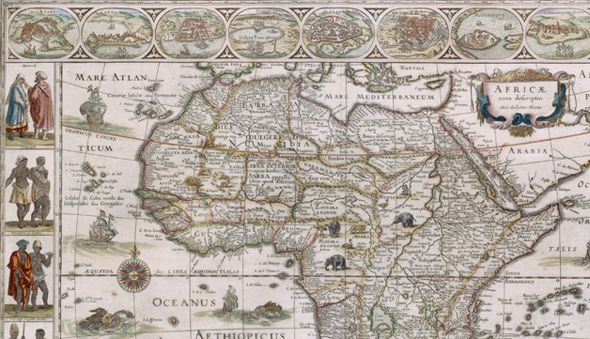 A Western cartographer's depiction of Africa, ca 1600.