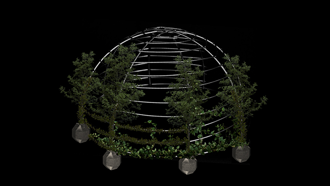 Metal dome is positioned in the center of the image against a black background, with cork containers placed at the base of the vertical beams. Tree saplings are emerging from these containers, and vines are beginning to grow upwards, trained against its structure.