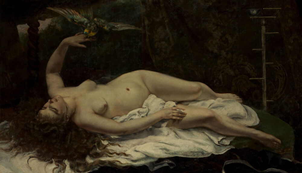 Woman lying naked in bed, holding a parrot