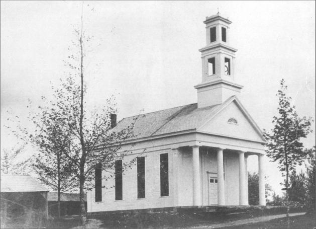 Black and white photo of a congregational church