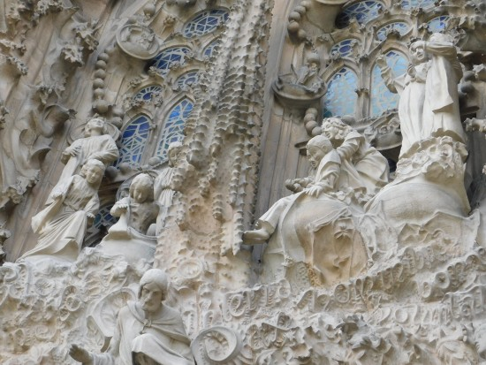 The Sagrada Familia's intricate carvings.